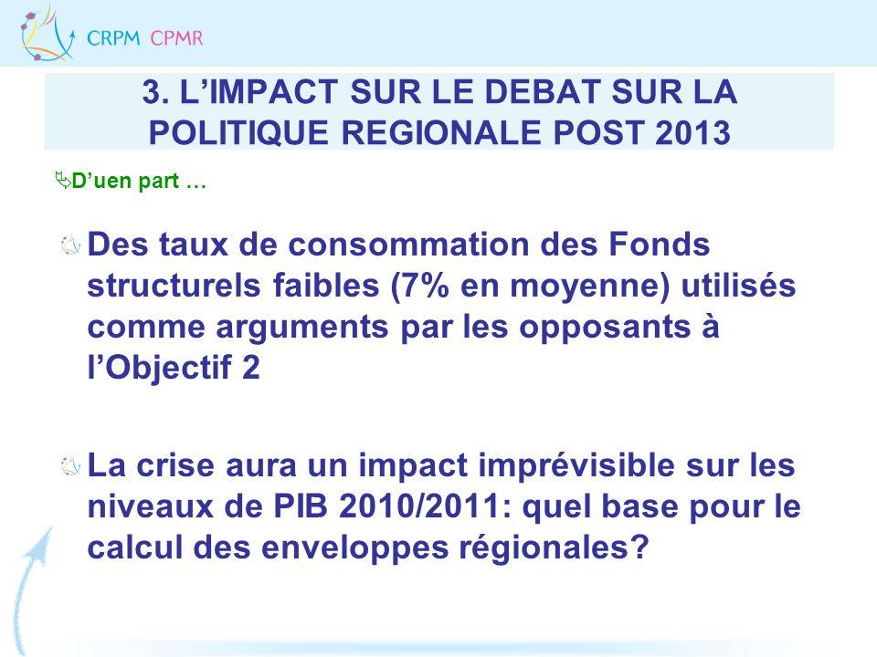 3. LIMPACT SUR LE DEBAT SUR LA POLITIQUE REGIONALE POST 2013 Des taux de consommation des Fonds structurels faibles (7% en moyenne) utilisés comme arg