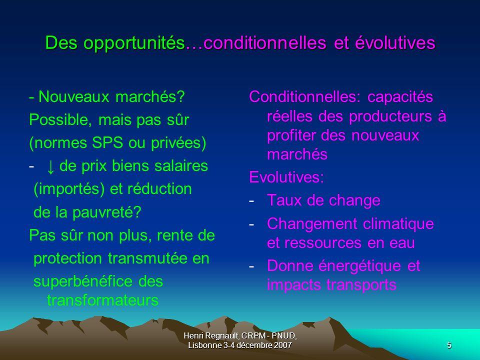 Henri Regnault, CRPM - PNUD, Lisbonne 3-4 décembre 20075 Des opportunités…conditionnelles et évolutives - Nouveaux marchés.