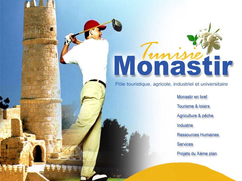 Situation géographique : Le gouvernorat de Monastir est situé au centre Est de la Tunisie (160 Km au sud de Tunis), sur les rives du bassin oriental de la Méditerranée.