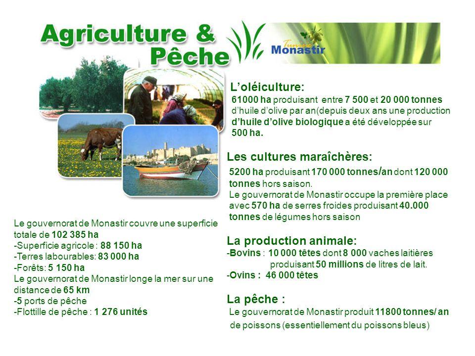 Le gouvernorat de Monastir couvre une superficie totale de 102 385 ha -Superficie agricole : 88 150 ha -Terres labourables: 83 000 ha -Forêts: 5 150 h