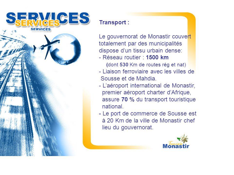 Transport : Le gouvernorat de Monastir couvert totalement par des municipalités dispose dun tissu urbain dense: - Réseau routier : 1500 km (dont 530 K