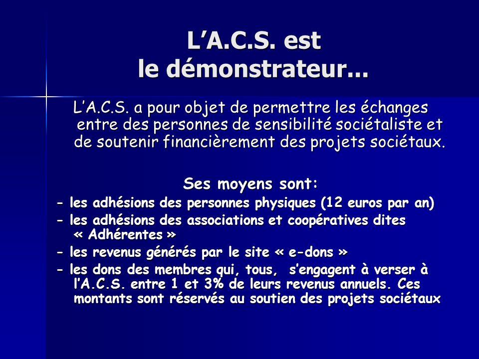LA.C.S. est le démonstrateur... LA.C.S. a pour objet de permettre les échanges entre des personnes de sensibilité sociétaliste et de soutenir financiè
