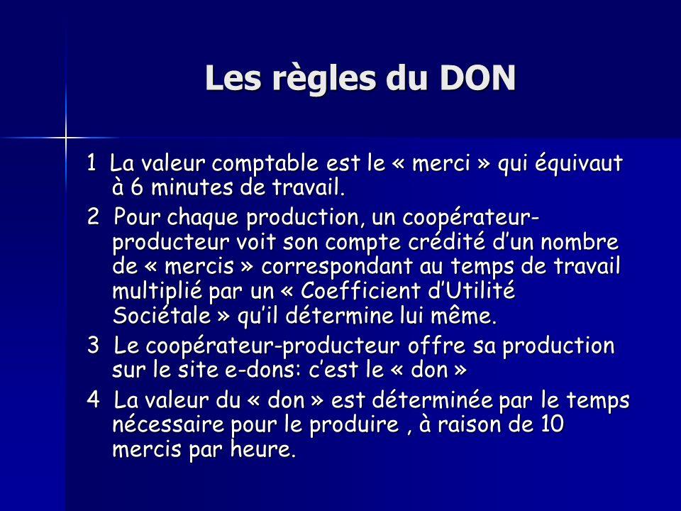 Les règles du DON 1 La valeur comptable est le « merci » qui équivaut à 6 minutes de travail. 2 Pour chaque production, un coopérateur- producteur voi