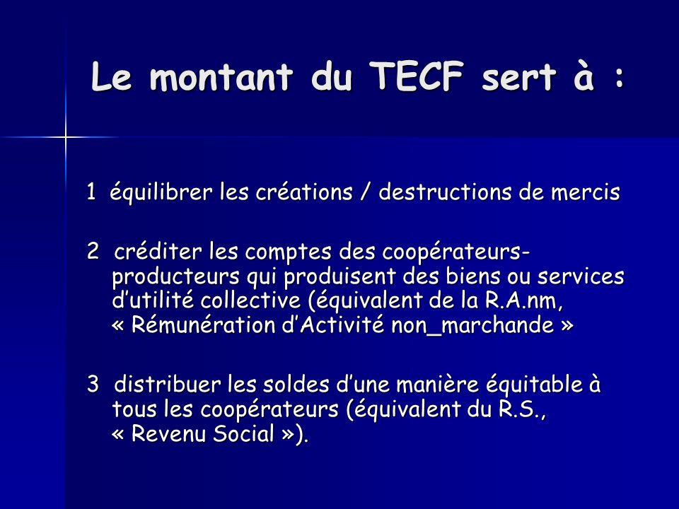 Le montant du TECF sert à : 1 équilibrer les créations / destructions de mercis 2 créditer les comptes des coopérateurs- producteurs qui produisent de