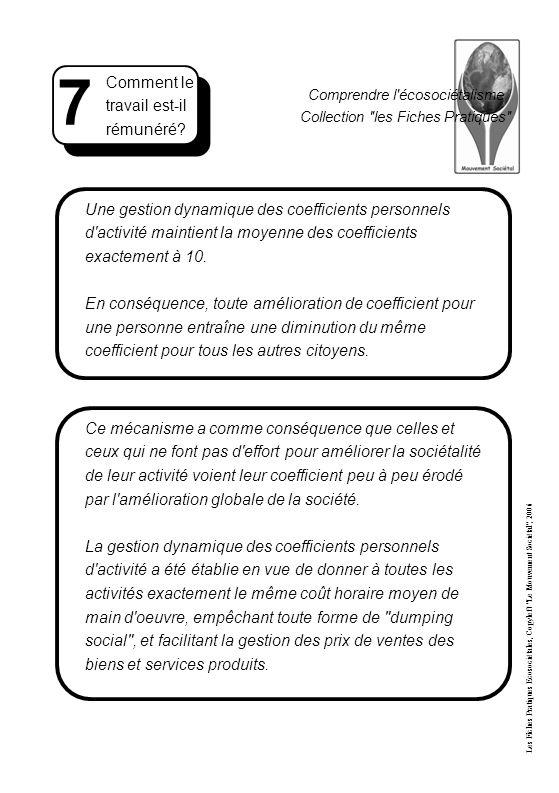 Comprendre l écosociétalisme Collection les Fiches Pratiques Une gestion dynamique des coefficients personnels d activité maintient la moyenne des coefficients exactement à 10.
