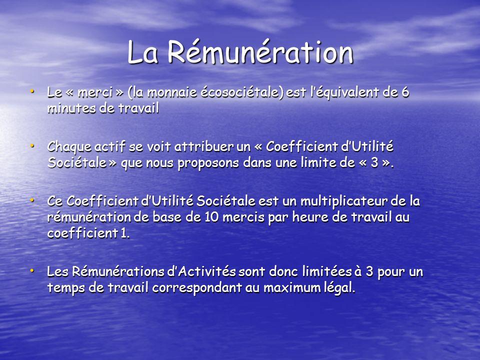 La Rémunération Le « merci » (la monnaie écosociétale) est léquivalent de 6 minutes de travail Le « merci » (la monnaie écosociétale) est léquivalent