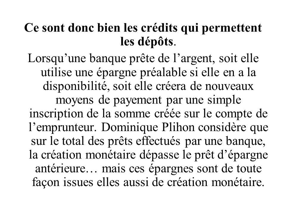 Ce sont donc bien les crédits qui permettent les dépôts. Lorsquune banque prête de largent, soit elle utilise une épargne préalable si elle en a la di
