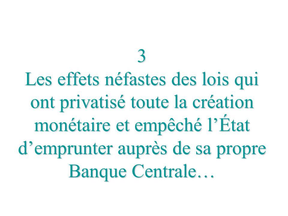 3 Les effets néfastes des lois qui ont privatisé toute la création monétaire et empêché lÉtat demprunter auprès de sa propre Banque Centrale…