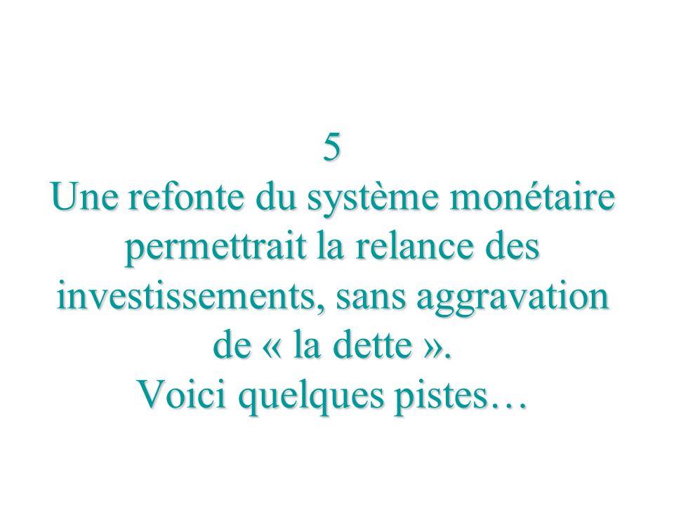 5 Une refonte du système monétaire permettrait la relance des investissements, sans aggravation de « la dette ». Voici quelques pistes…