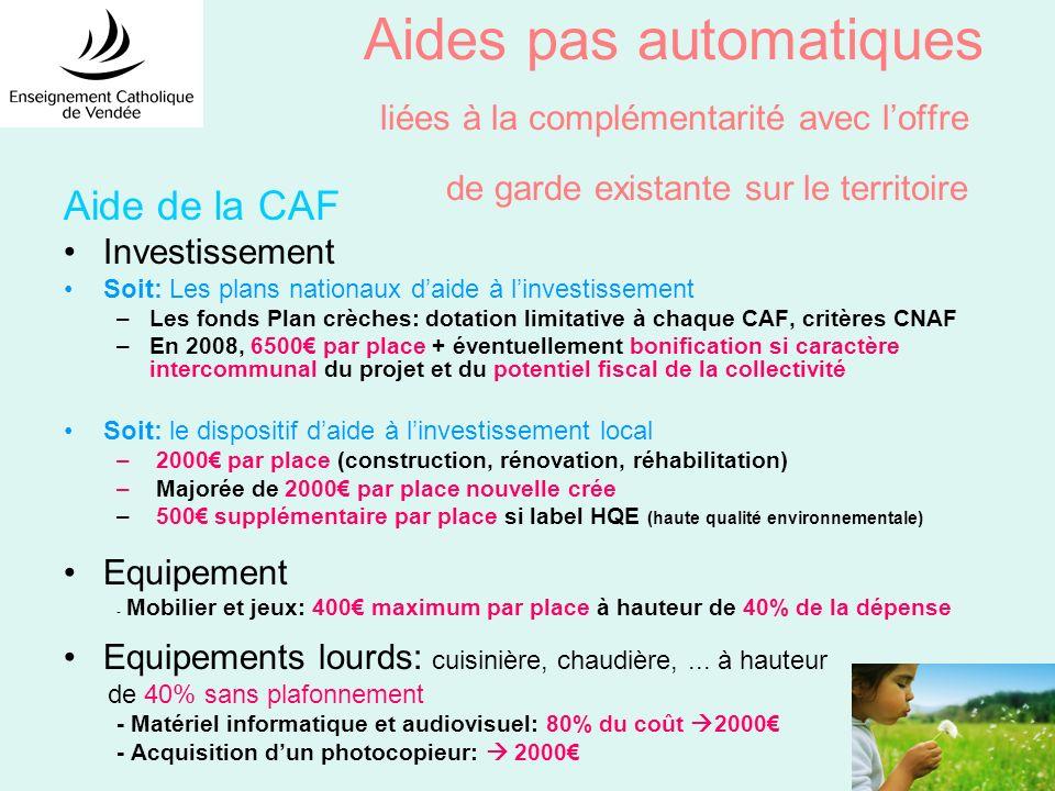 Aides pas automatiques liées à la complémentarité avec loffre de garde existante sur le territoire Aide de la CAF Investissement Soit: Les plans natio