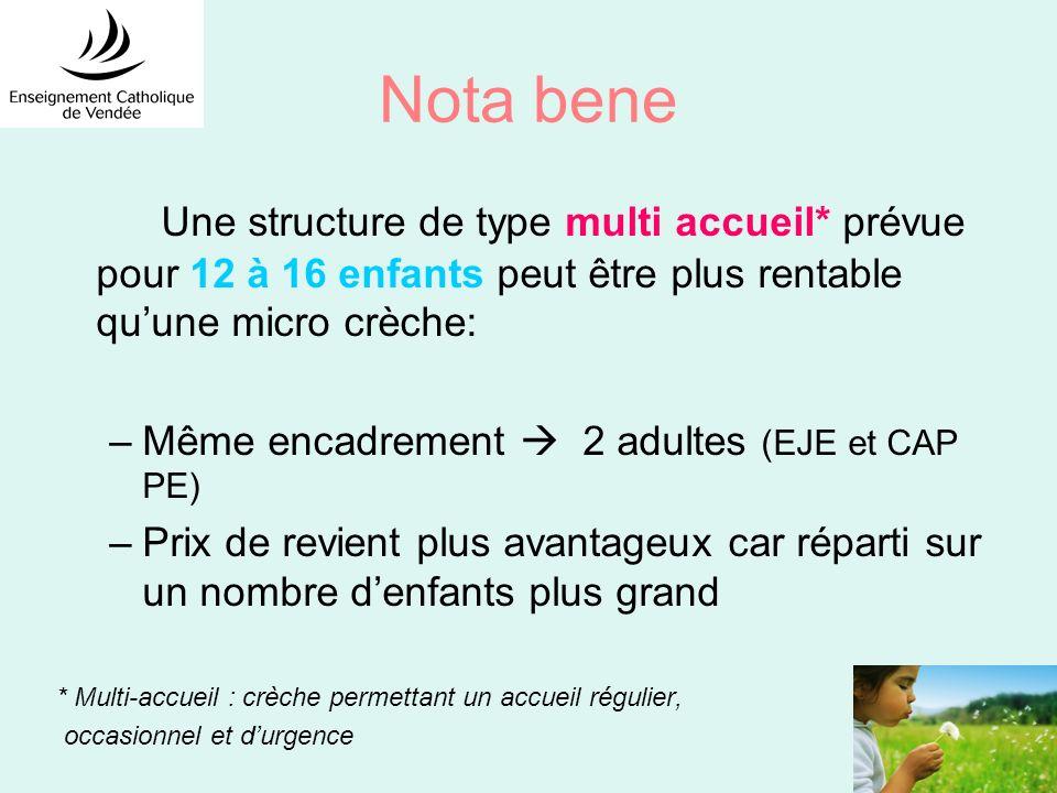 Nota bene Une structure de type multi accueil* prévue pour 12 à 16 enfants peut être plus rentable quune micro crèche: –Même encadrement 2 adultes (EJ