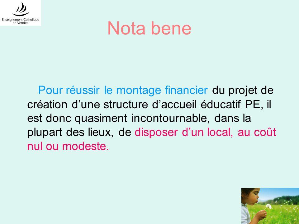 Nota bene Pour réussir le montage financier du projet de création dune structure daccueil éducatif PE, il est donc quasiment incontournable, dans la p