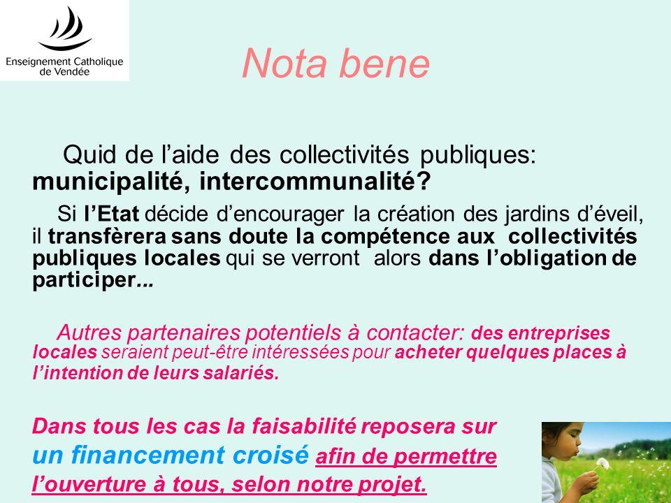 Nota bene Quid de laide des collectivités publiques: municipalité, intercommunalité.