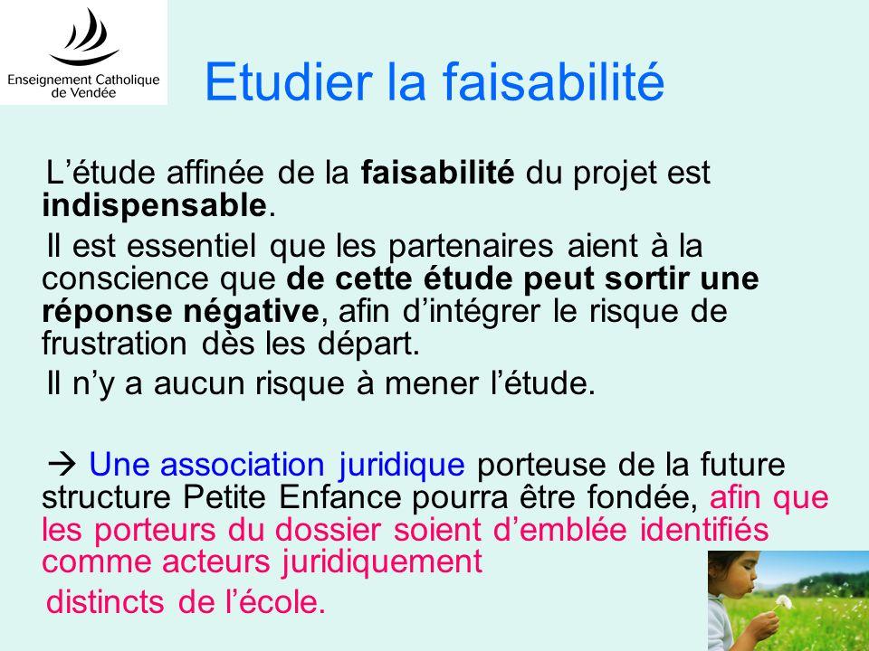 Etudier la faisabilité Létude affinée de la faisabilité du projet est indispensable. Il est essentiel que les partenaires aient à la conscience que de