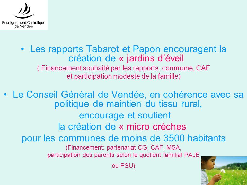 Les rapports Tabarot et Papon encouragent la création de « jardins déveil ( Financement souhaité par les rapports: commune, CAF et participation modes