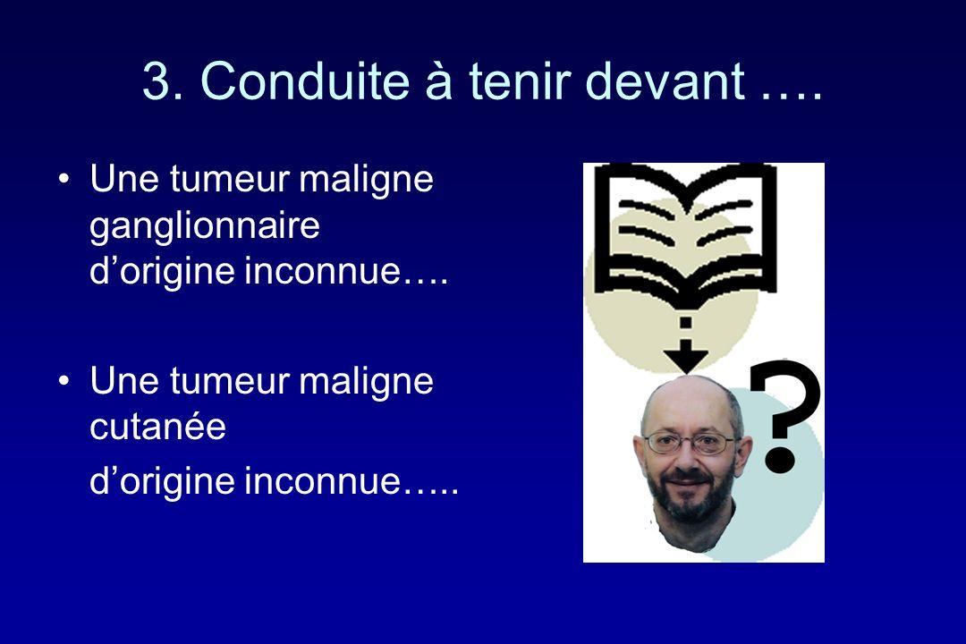 3. Conduite à tenir devant …. Une tumeur maligne ganglionnaire dorigine inconnue…. Une tumeur maligne cutanée dorigine inconnue…..