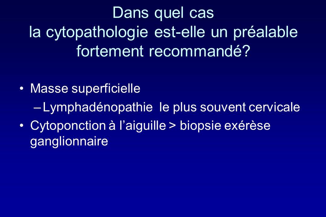Dans quel cas la cytopathologie est-elle un préalable fortement recommandé? Masse superficielle –Lymphadénopathie le plus souvent cervicale Cytoponcti