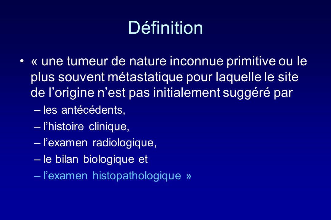 Définition « une tumeur de nature inconnue primitive ou le plus souvent métastatique pour laquelle le site de lorigine nest pas initialement suggéré p