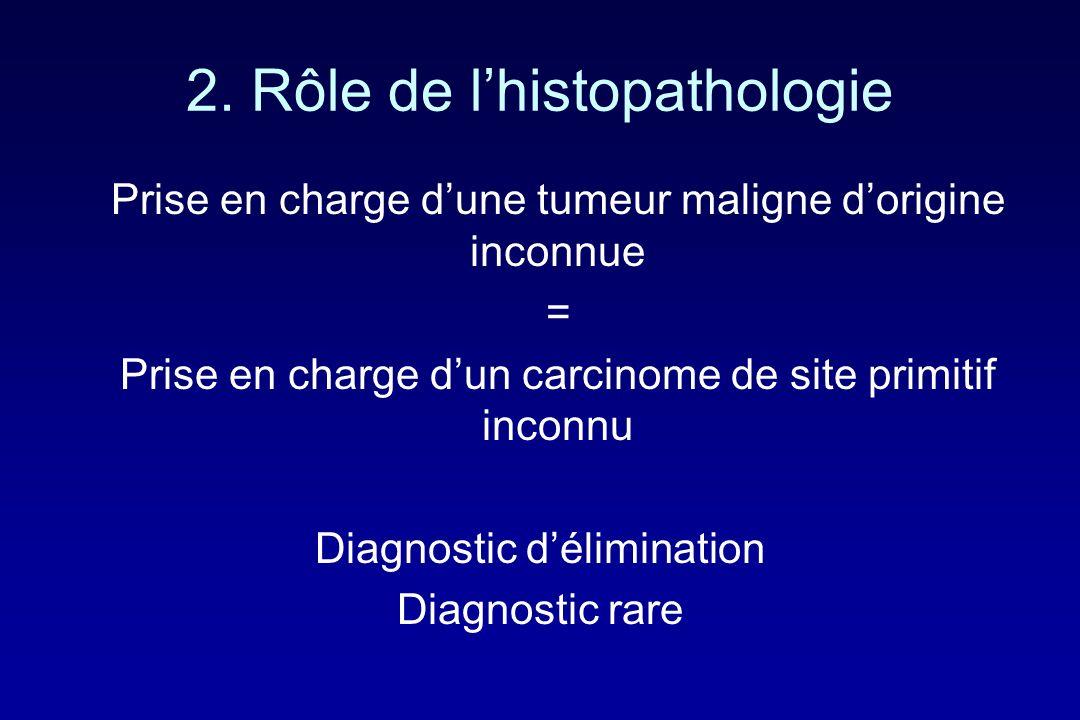 2. Rôle de lhistopathologie Prise en charge dune tumeur maligne dorigine inconnue = Prise en charge dun carcinome de site primitif inconnu Diagnostic