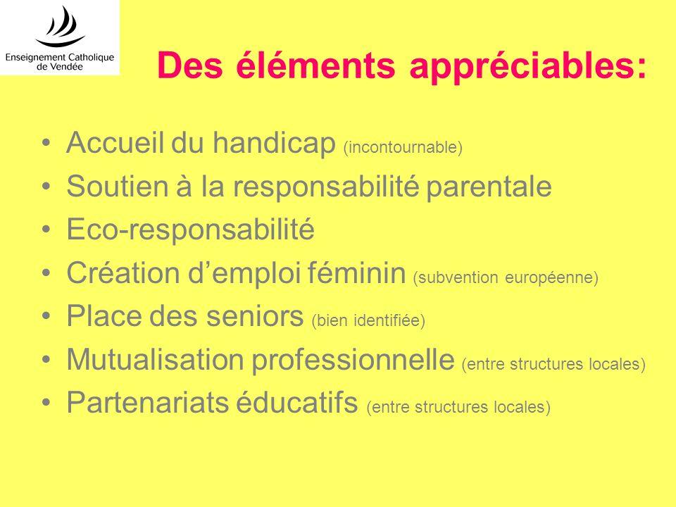 Des éléments appréciables: Accueil du handicap (incontournable) Soutien à la responsabilité parentale Eco-responsabilité Création demploi féminin (sub