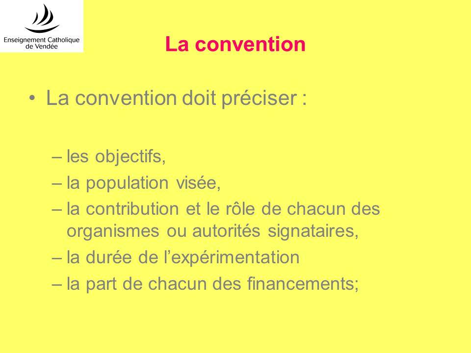 La convention La convention doit préciser : –les objectifs, –la population visée, –la contribution et le rôle de chacun des organismes ou autorités si