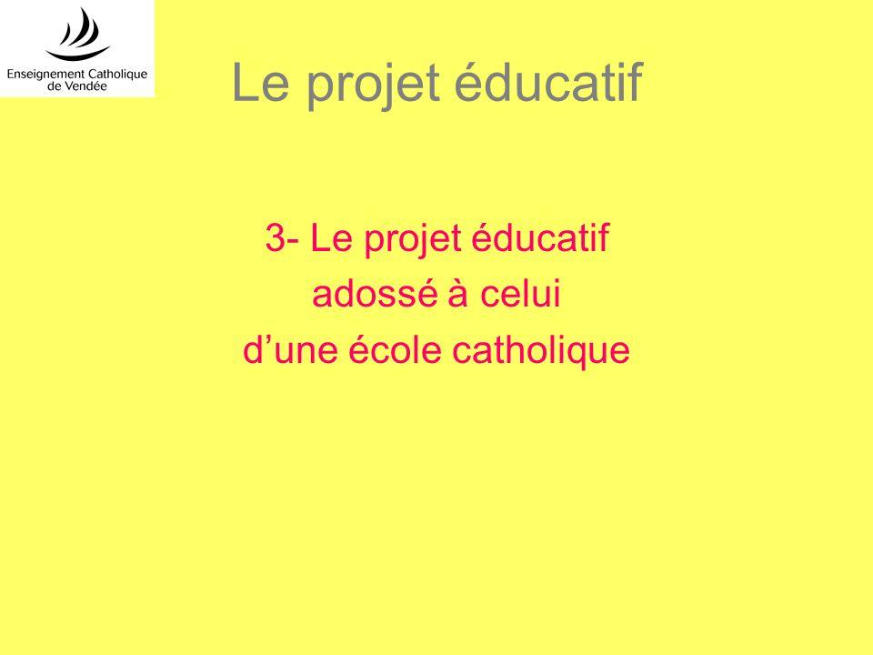 Le projet éducatif 3- Le projet éducatif adossé à celui dune école catholique