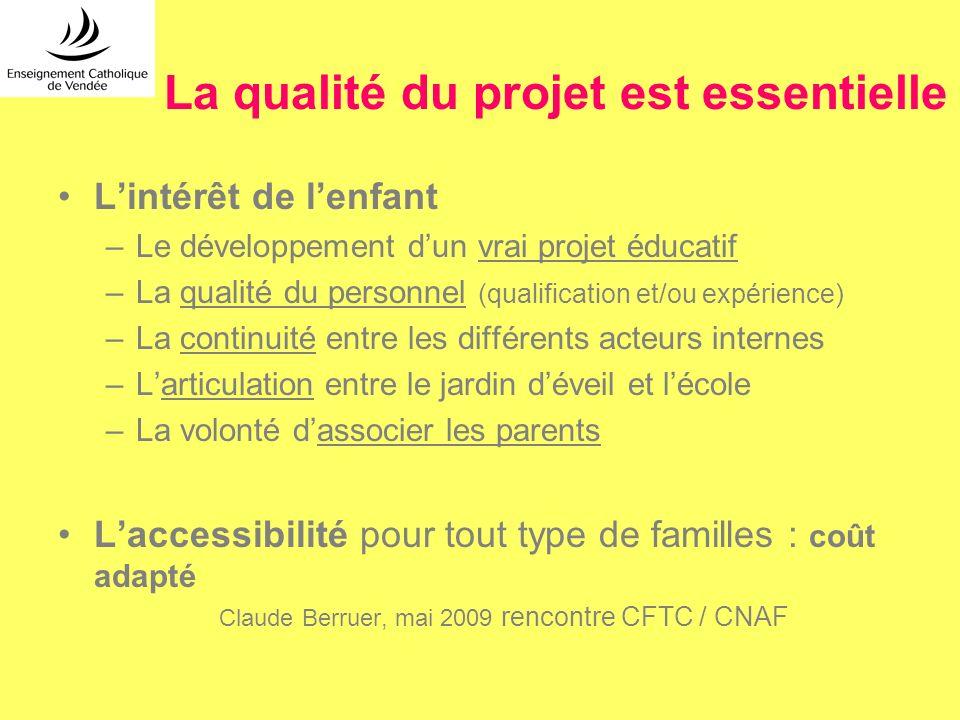 La qualité du projet est essentielle Lintérêt de lenfant –Le développement dun vrai projet éducatif –La qualité du personnel (qualification et/ou expé