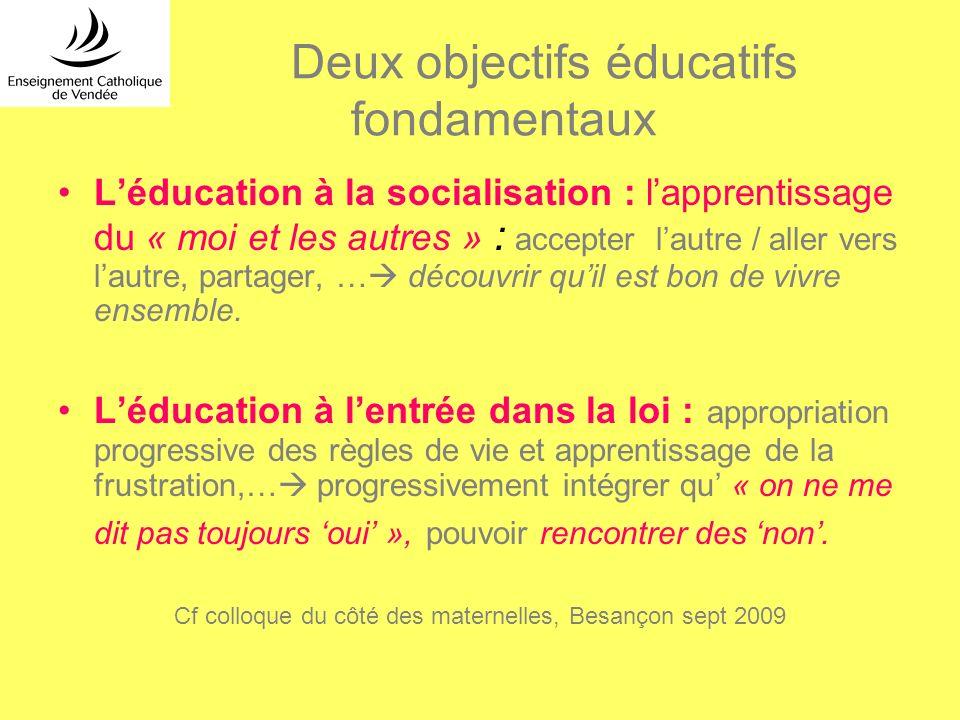 Deux objectifs éducatifs fondamentaux Léducation à la socialisation : lapprentissage du « moi et les autres » : accepter lautre / aller vers lautre, p