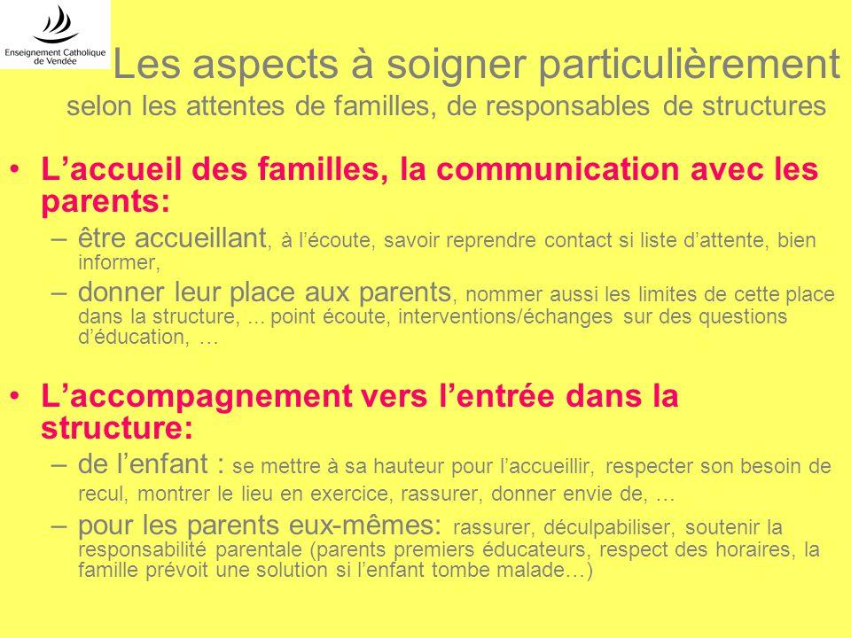 Les aspects à soigner particulièrement selon les attentes de familles, de responsables de structures Laccueil des familles, la communication avec les