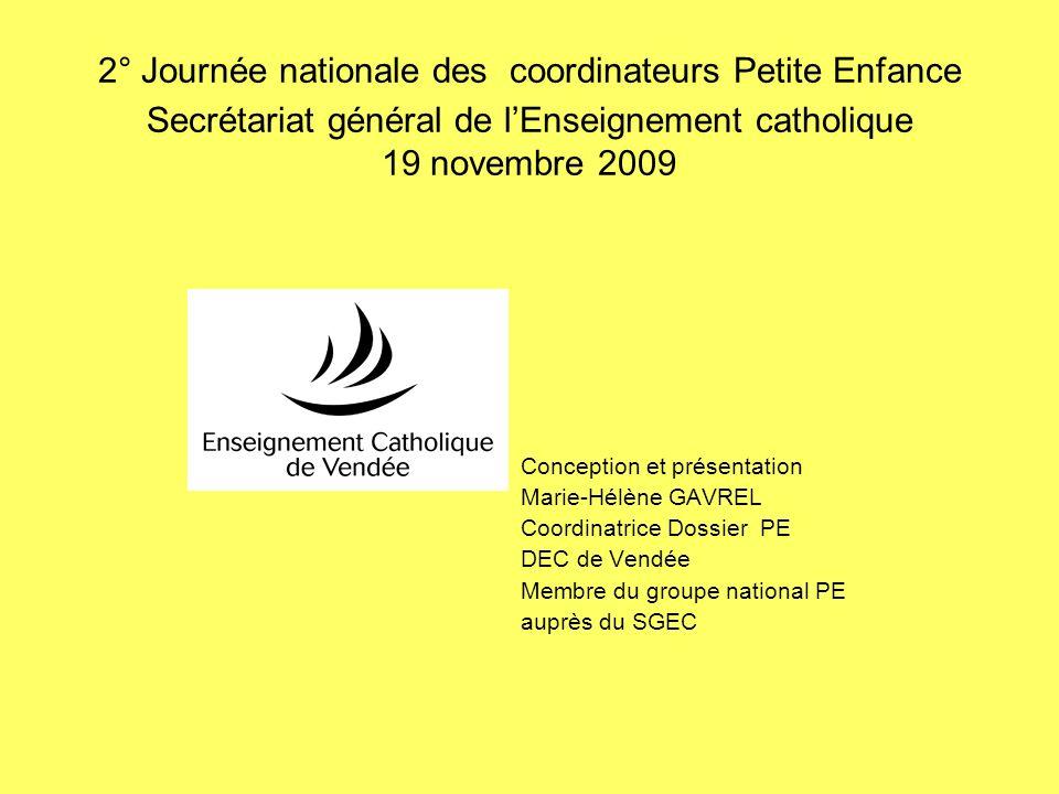 2° Journée nationale des coordinateurs Petite Enfance Secrétariat général de lEnseignement catholique 19 novembre 2009 Conception et présentation Mari