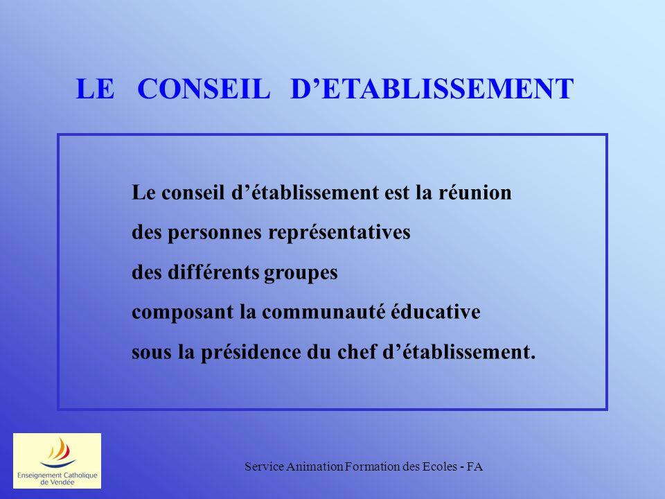 Service Animation Formation des Ecoles - FA LE CONSEIL DETABLISSEMENT Le conseil détablissement est la réunion des personnes représentatives des différents groupes composant la communauté éducative sous la présidence du chef détablissement.