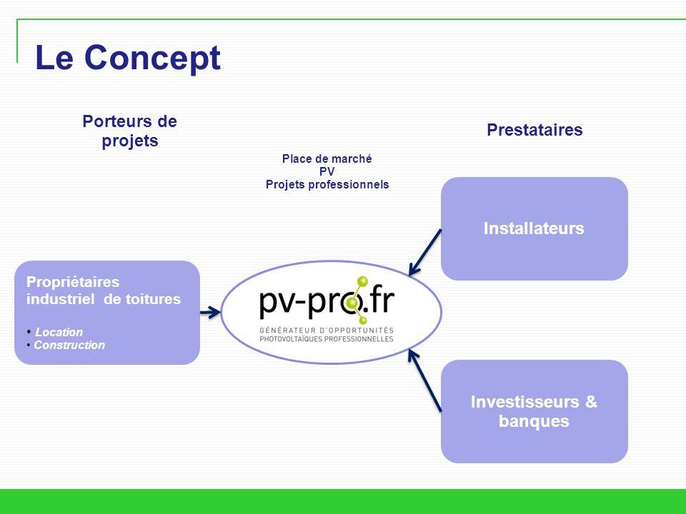 Le Concept Propriétaires industriel de toitures Location Construction Installateurs Investisseurs & banques Porteurs de projets Prestataires Place de marché PV Projets professionnels