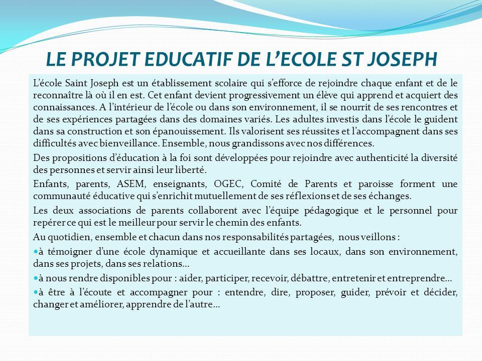 LE PROJET EDUCATIF DE LECOLE ST JOSEPH Lécole Saint Joseph est un établissement scolaire qui sefforce de rejoindre chaque enfant et de le reconnaître