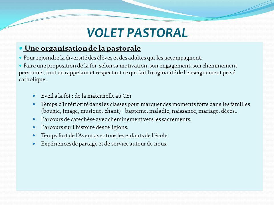 VOLET PASTORAL Une organisation de la pastorale Pour rejoindre la diversité des élèves et des adultes qui les accompagnent. Faire une proposition de l