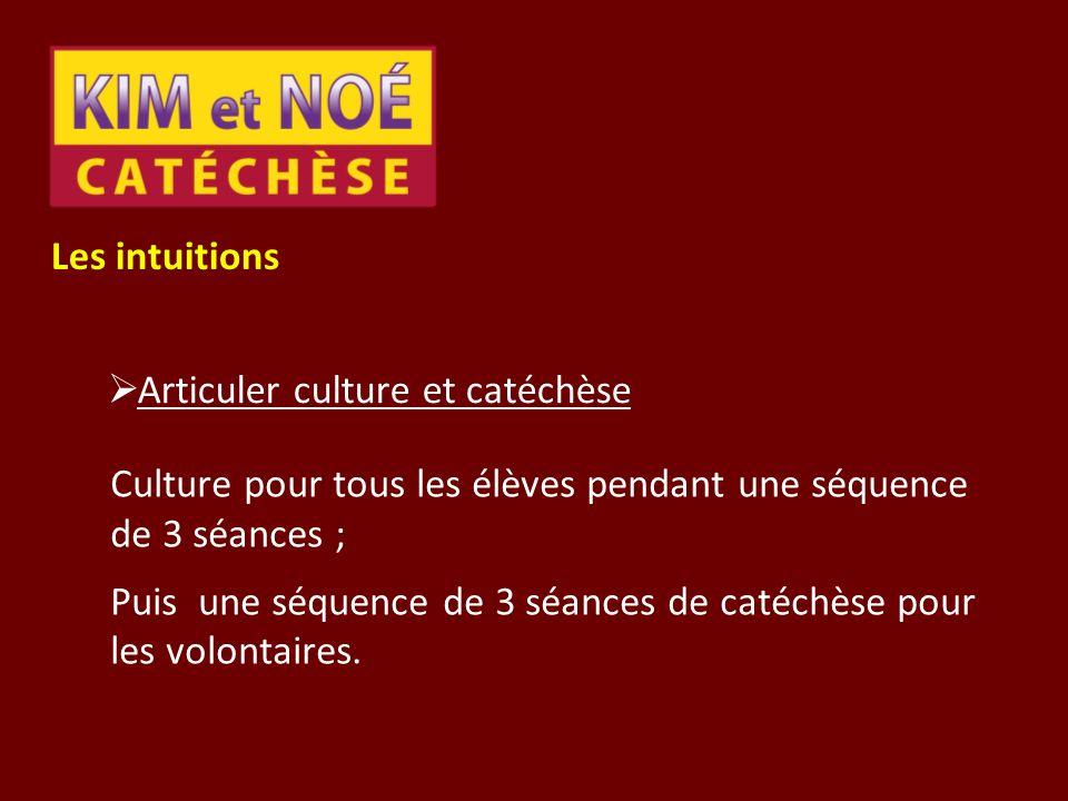 Les intuitions Articuler culture et catéchèse Culture pour tous les élèves pendant une séquence de 3 séances ; Puis une séquence de 3 séances de catéc