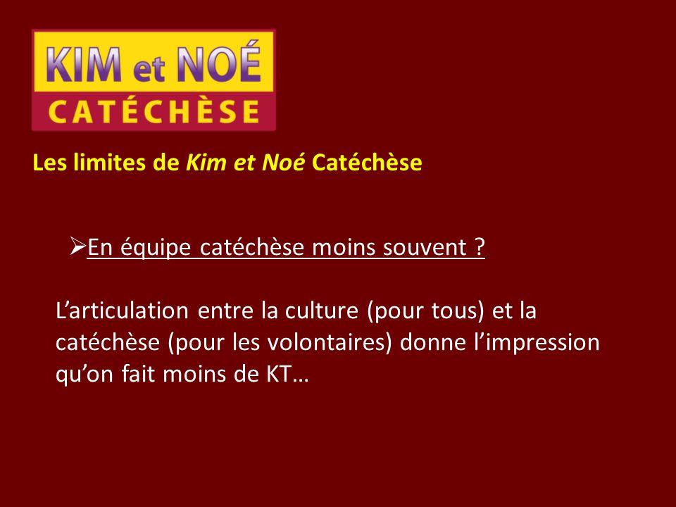 Les limites de Kim et Noé Catéchèse En équipe catéchèse moins souvent ? Larticulation entre la culture (pour tous) et la catéchèse (pour les volontair