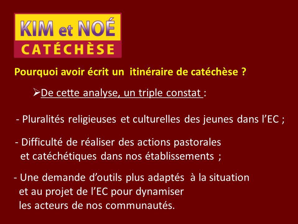 Pourquoi avoir écrit un itinéraire de catéchèse ? De cette analyse, un triple constat : - Pluralités religieuses et culturelles des jeunes dans lEC ;