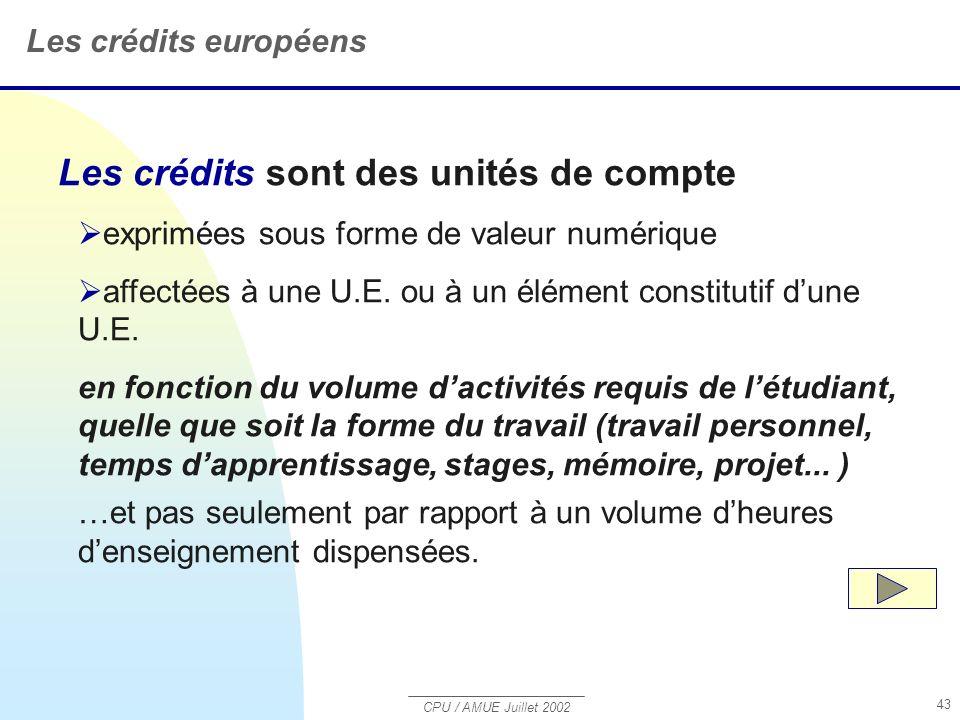 CPU / AMUE Juillet 2002 43 Les crédits sont des unités de compte exprimées sous forme de valeur numérique affectées à une U.E.