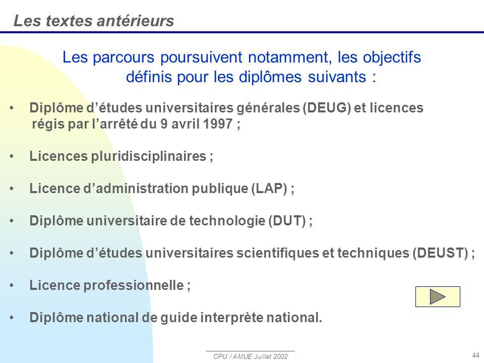 CPU / AMUE Juillet 2002 44 Les parcours poursuivent notamment, les objectifs définis pour les diplômes suivants : Les textes antérieurs Diplôme détudes universitaires générales (DEUG) et licences régis par larrêté du 9 avril 1997 ; Licences pluridisciplinaires ; Licence dadministration publique (LAP) ; Diplôme universitaire de technologie (DUT) ; Diplôme détudes universitaires scientifiques et techniques (DEUST) ; Licence professionnelle ; Diplôme national de guide interprète national.