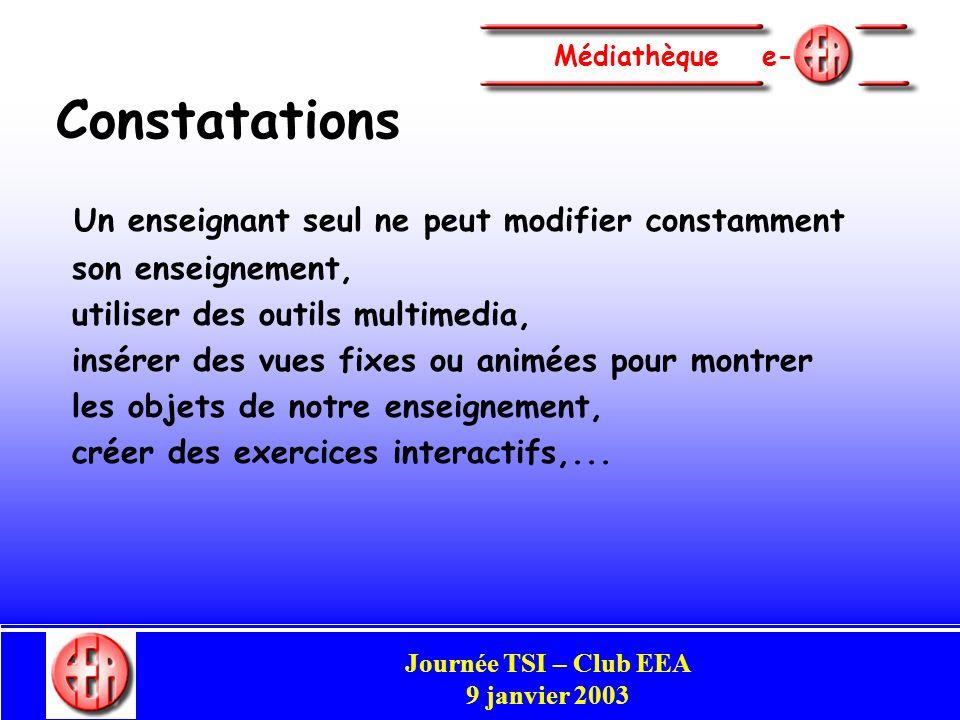 Commission Enseignement Congrès Club EEA Perpignan 29-31 mai 2002 Médiathèque e - Commission Enseignement Campus numérique (support d enseignement) + Outil d aide à la création d enseignements, lieu de discussion et déchanges,… Journée TSI – Club EEA 9 janvier 2003