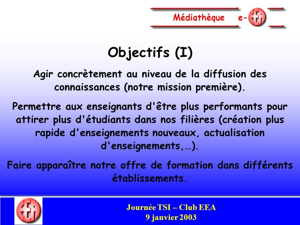 Commission Enseignement Congrès Club EEA Perpignan 29-31 mai 2002 Médiathèque e- Objectifs (I) Agir concrètement au niveau de la diffusion des connaissances (notre mission première).