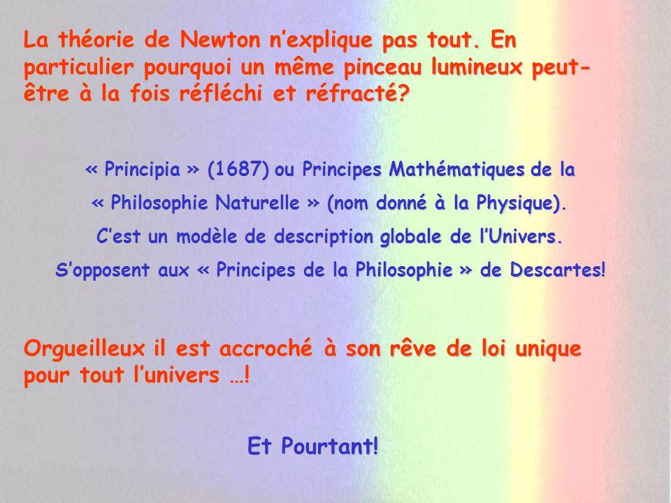 Christian Huygens (1629 – 1695) Théorie ondulatoire Elève de Descartes (1596 – 1650) « Lénergie lumineuse se propage par lintermédiaire de la matière (Ether) comme le son sous forme dondes » Comme Descartes cest un fervent partisan de la mécanique.