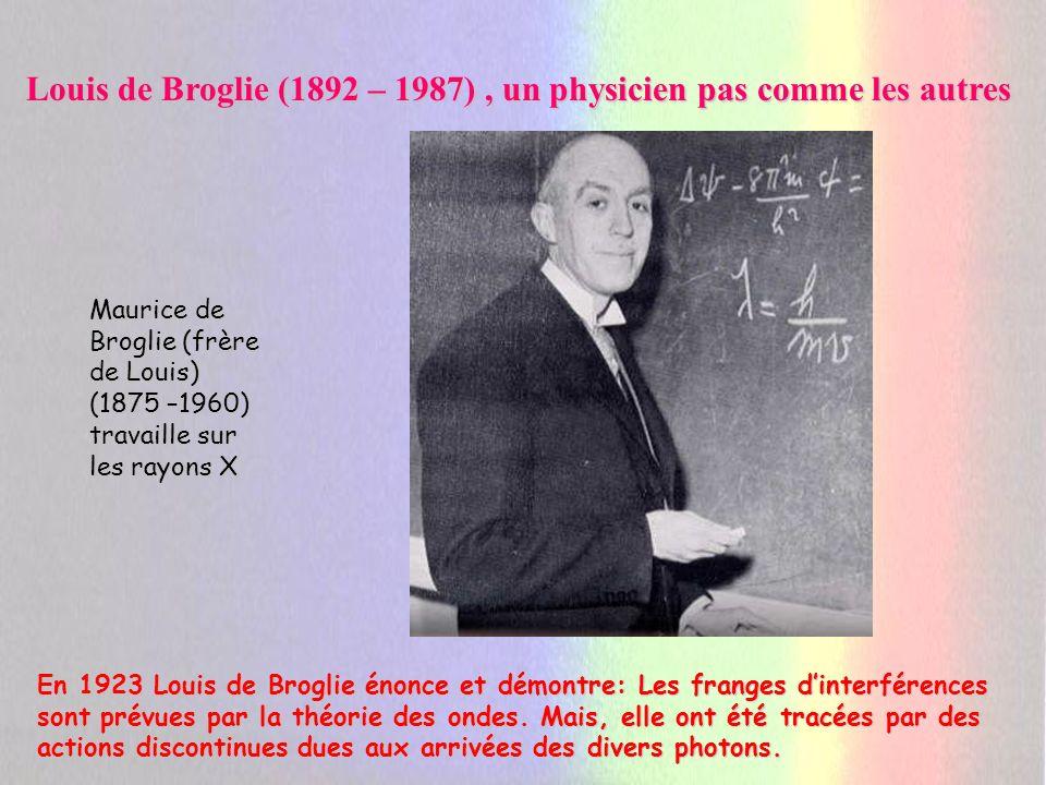 Louis de Broglie un physicien pas comme les autres Quand les électrons se prennent pour des ondes, ils donnent lieu à diffraction.