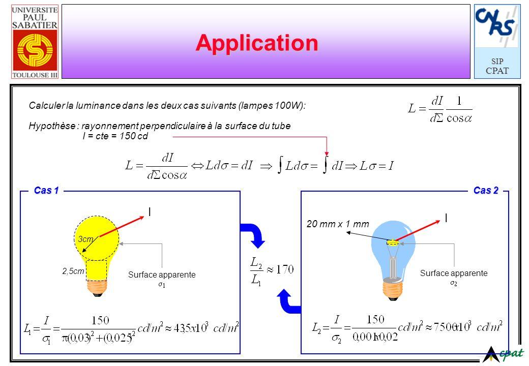 SIPCPAT Application I I Calculer la luminance dans les deux cas suivants (lampes 100W): Hypothèse : rayonnement perpendiculaire à la surface du tube I