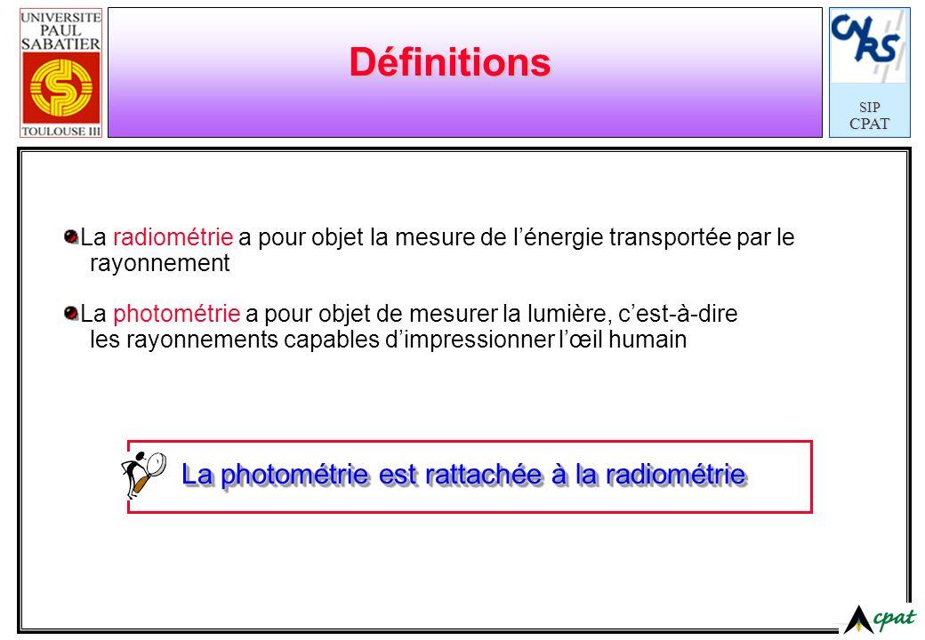SIPCPAT Définitions La radiométrie a pour objet la mesure de lénergie transportée par le rayonnement La photométrie a pour objet de mesurer la lumière
