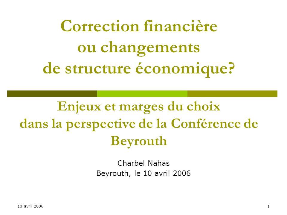 10 avril 20061 Correction financière ou changements de structure économique.