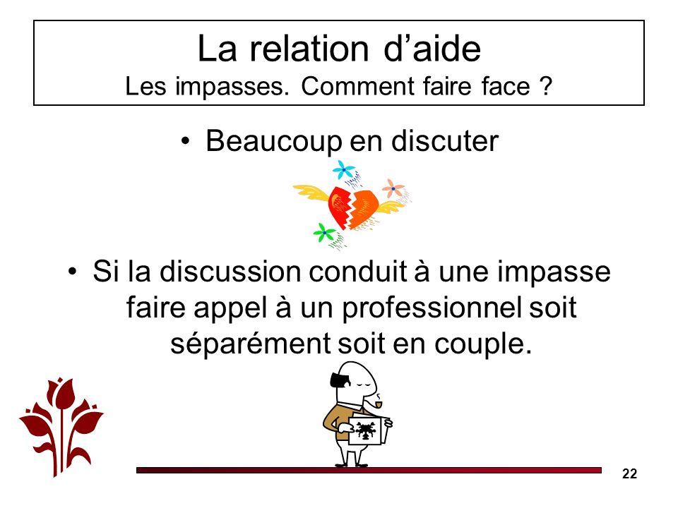 22 La relation daide Les impasses.Comment faire face .