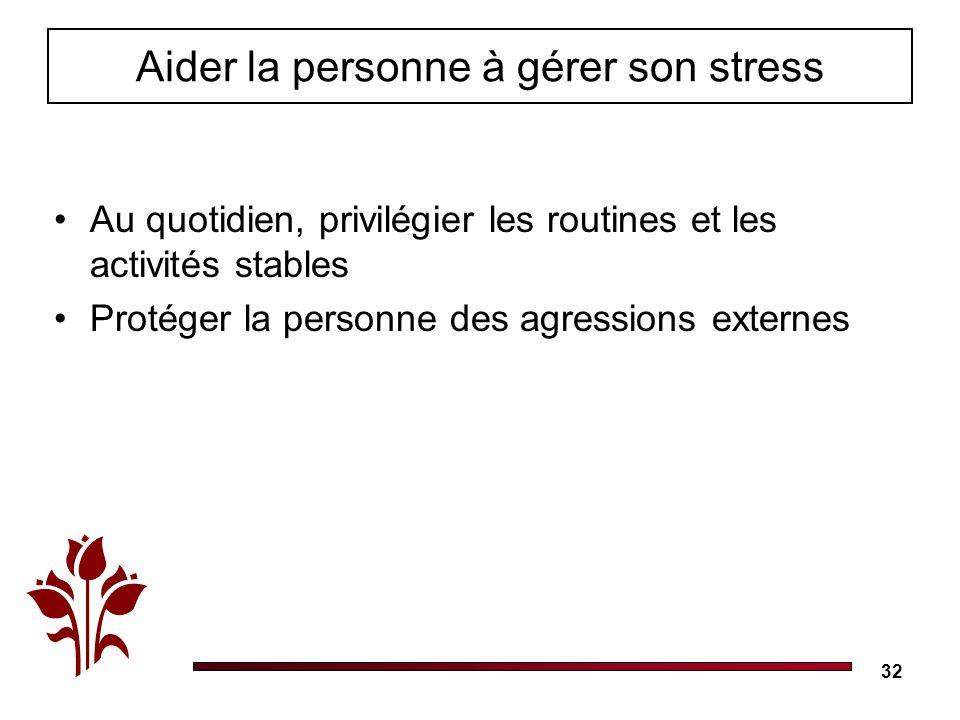 32 Au quotidien, privilégier les routines et les activités stables Protéger la personne des agressions externes Aider la personne à gérer son stress