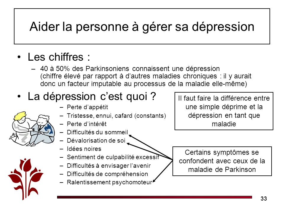 33 Les chiffres : –40 à 50% des Parkinsoniens connaissent une dépression (chiffre élevé par rapport à dautres maladies chroniques : il y aurait donc un facteur imputable au processus de la maladie elle-même) La dépression cest quoi .