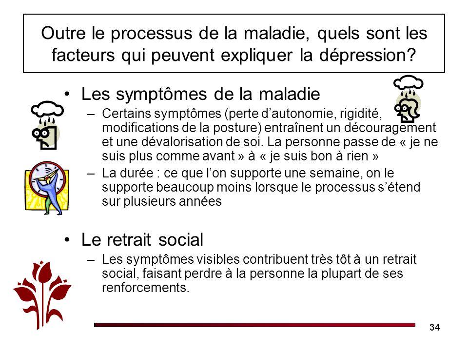 34 Outre le processus de la maladie, quels sont les facteurs qui peuvent expliquer la dépression? Les symptômes de la maladie –Certains symptômes (per
